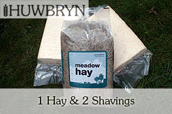1 meadow hay and 2 soft wood shavings